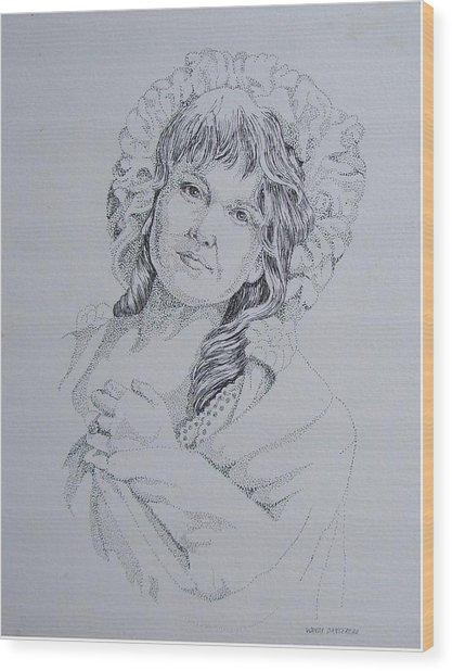 1910 Lady Wood Print by Wanda Dansereau