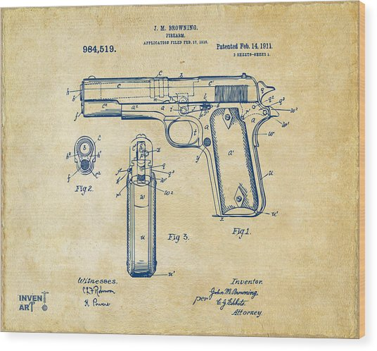 1911 Colt 45 Browning Firearm Patent Artwork Vintage Wood Print