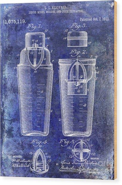 1913 Cocktail Shaker Patent Blue Wood Print