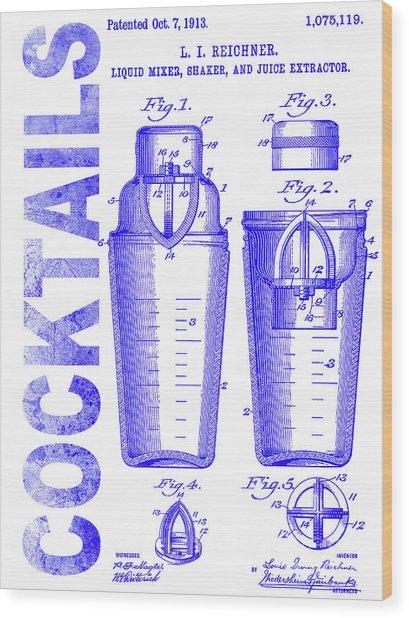 1913 Cocktail Shaker Patent Blueprint Wood Print