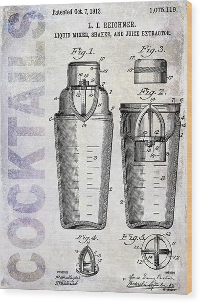 1913 Cocktail Shaker Patent Wood Print