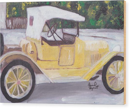 1915 Chevy Wood Print by David Poyant Paintings