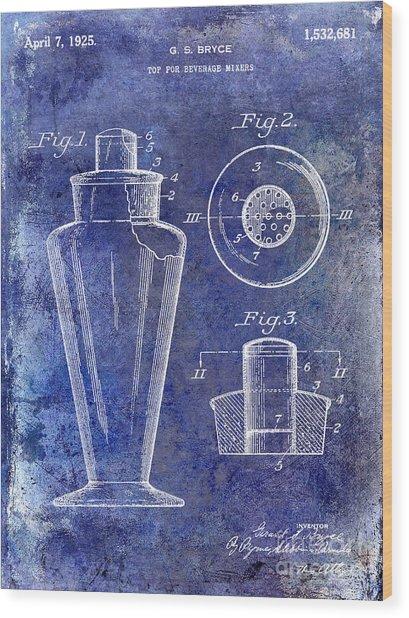 1925 Cocktail Shaker Patent Blue Wood Print