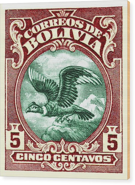 1928 Bolivia Andean Condor Postage Stamp Wood Print