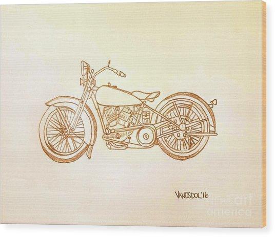 1928 Harley Davidson Motorcycle Graphite Pencil - Sepia Wood Print