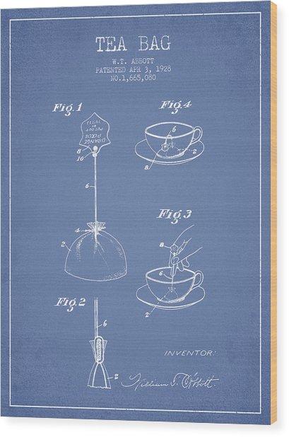 1928 Tea Bag Patent - Light Blue Wood Print