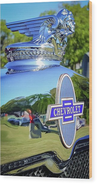 1930 Chevrolet Ad Hood Ornament Wood Print