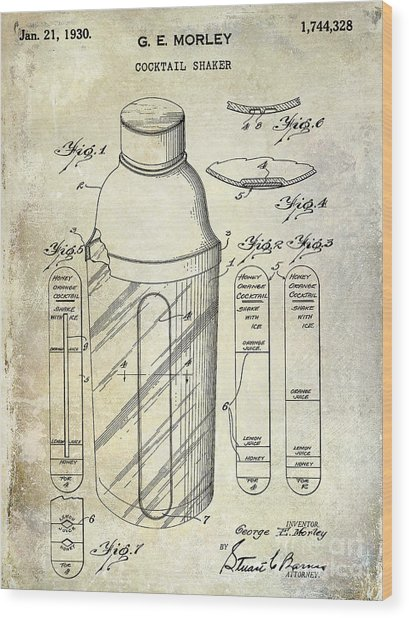 1930 Cocktail Shaker Patent Wood Print