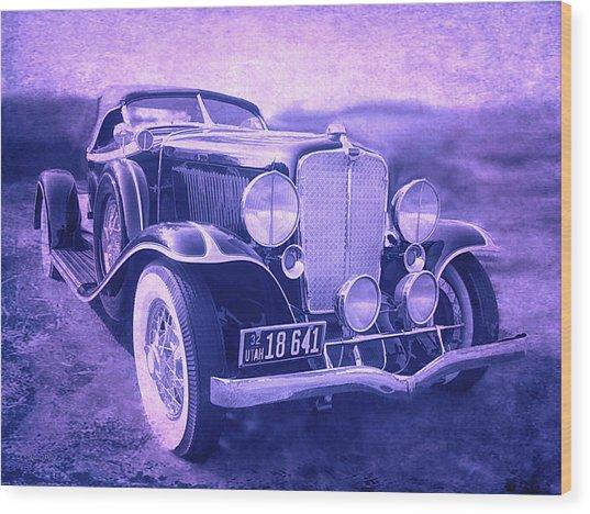 1932 Auburn Speedster Violet Grunge Wood Print