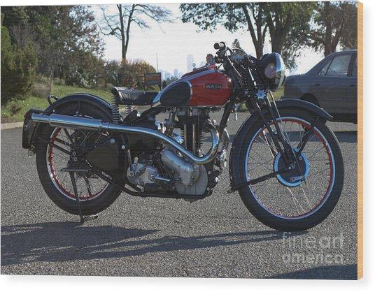 1934 Ariel Motorcycle Side View Wood Print by Robert Torkomian