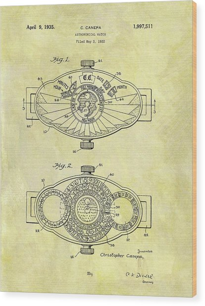 1935 Astronomical Watch Patent Wood Print