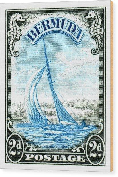 1936 Bermuda Yacht Postage Stamp Wood Print