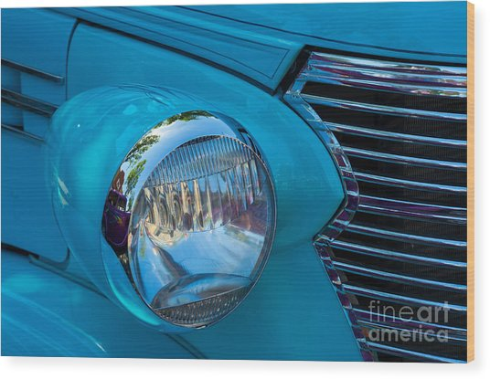 1936 Chevy Coupe Headlight And Grill Wood Print