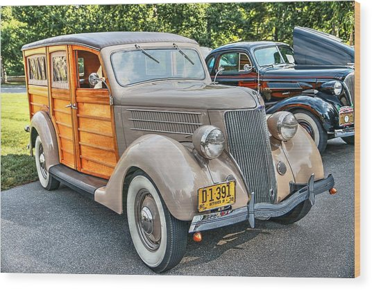 1936 Ford V8 Woody Station Wagon Wood Print