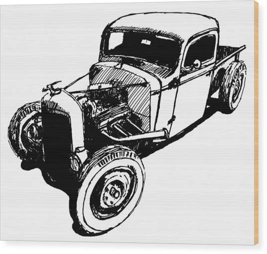 1937 Chevy Bobber Truck Hot Rod Tee Wood Print by David King