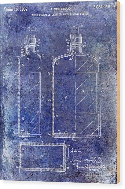 1937 Liquor Bottle Patent Blue Wood Print