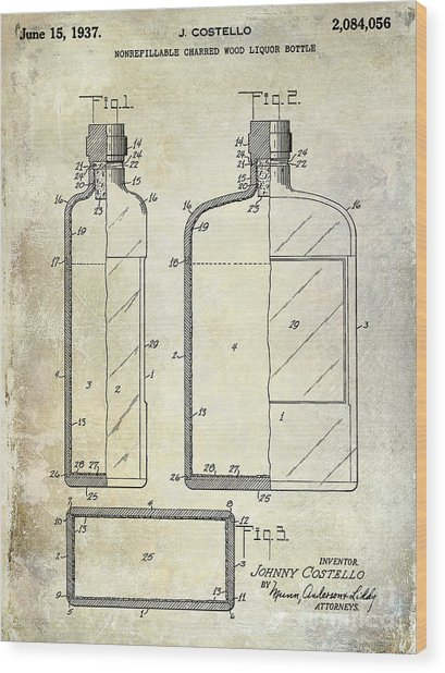 1937 Liquor Bottle Patent  Wood Print