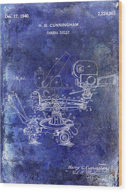 1940 Camera Dolly Patent Blue Wood Print