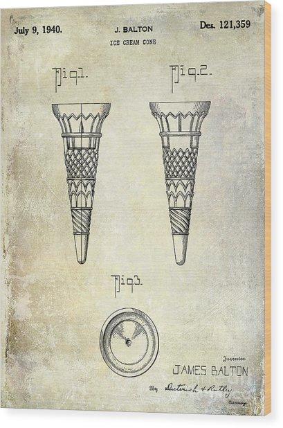 1940 Ice Cream Cone Patent Wood Print