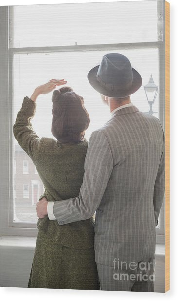 1940s Couple At The Window Wood Print