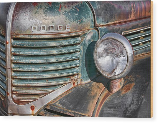 Wood Print featuring the photograph 1940s Dodge Truck Front Grill And Headlight by Gigi Ebert