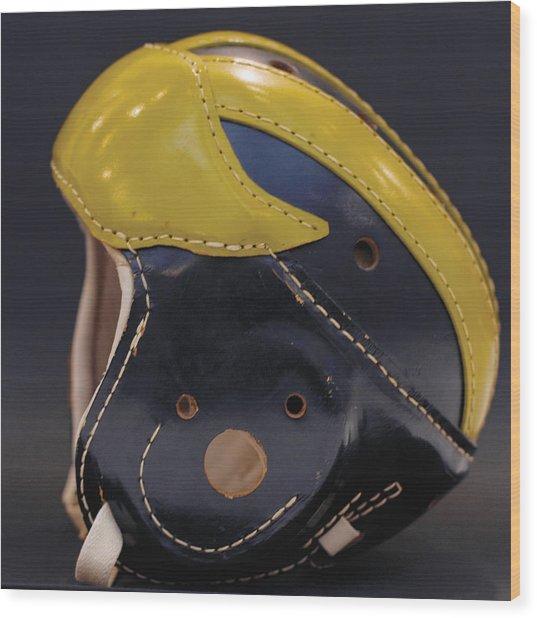 1940s Leather Wolverine Helmet Wood Print