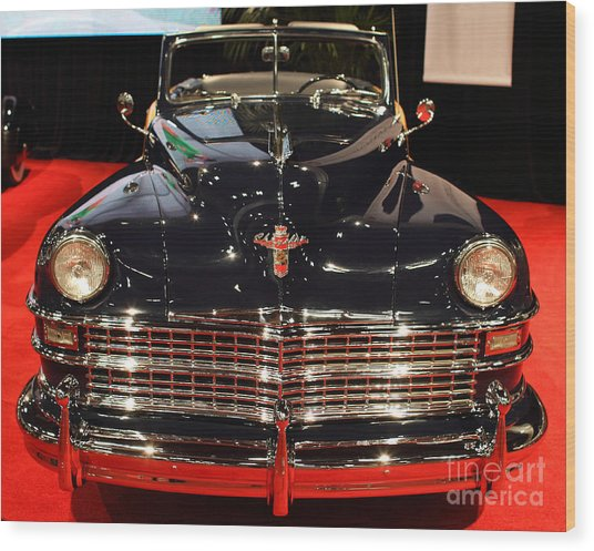 1941 Cadillac Series 62 Convertible Coupe . Front View Wood Print by Wingsdomain Art and Photography