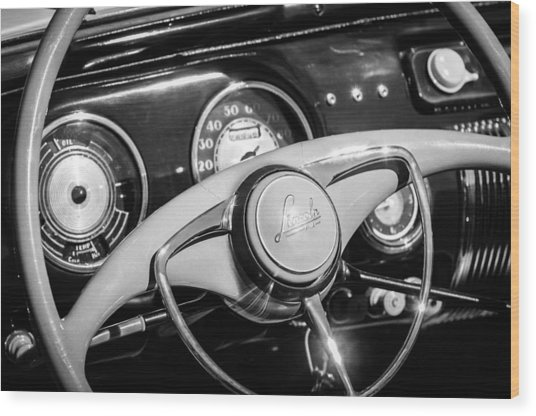 Wood Print featuring the photograph 1941 Lincoln Continental Cabriolet V12 Steering Wheel -226bw by Jill Reger