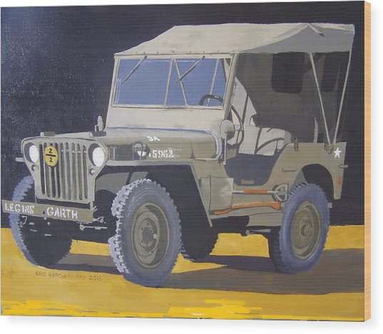 1942 Us Army Willys Jeep Wood Print