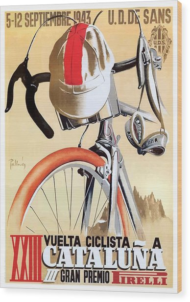 1943 Spain Tour Of Catalonia Bicycle Race Poster Wood Print