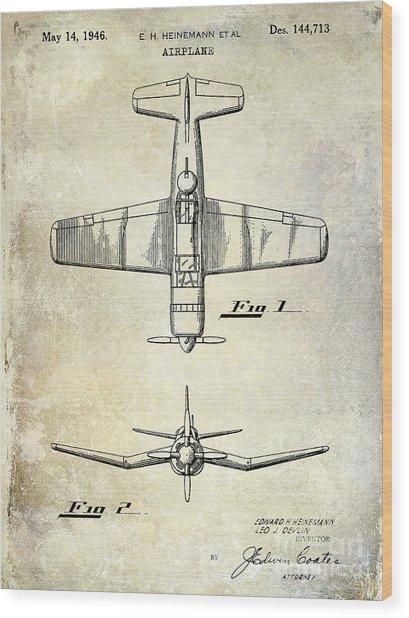 1946 Airplane Patent Wood Print