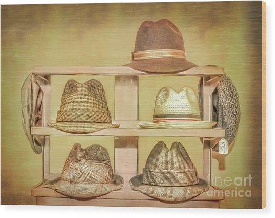 1950s Hats Wood Print