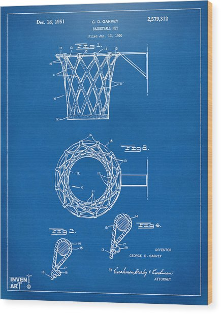 1951 Basketball Net Patent Artwork - Blueprint Wood Print