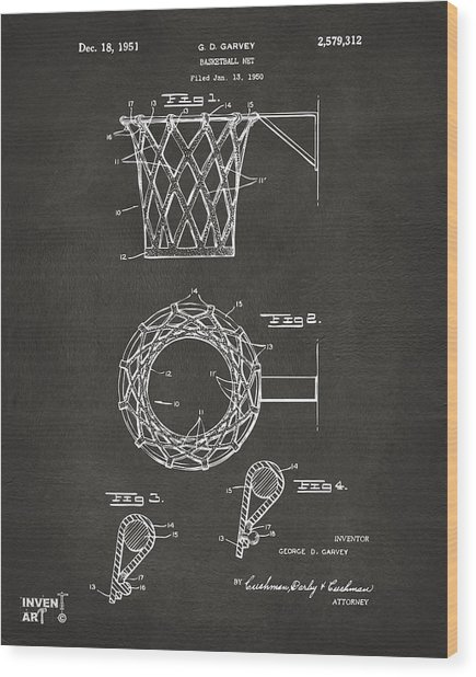 Wood Print featuring the digital art 1951 Basketball Net Patent Artwork - Gray by Nikki Marie Smith