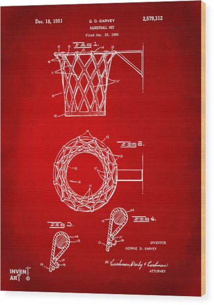 Wood Print featuring the digital art 1951 Basketball Net Patent Artwork - Red by Nikki Marie Smith