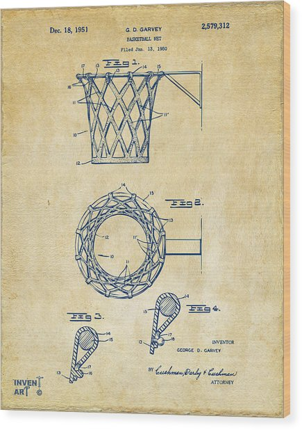 Wood Print featuring the digital art 1951 Basketball Net Patent Artwork - Vintage by Nikki Marie Smith