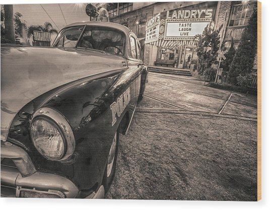 1952 Chevy Black And White Wood Print