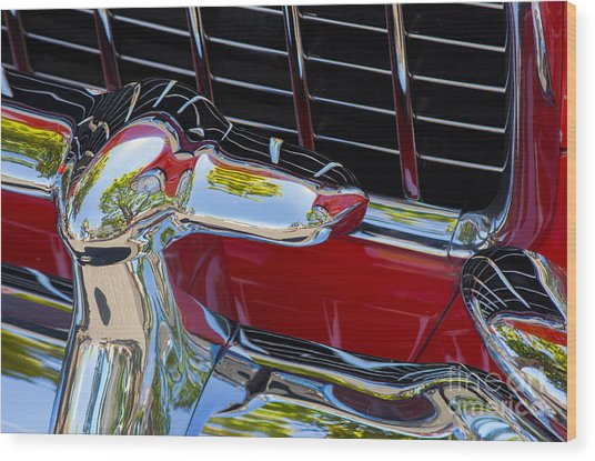 1955 Chevy Coupe Grill Wood Print