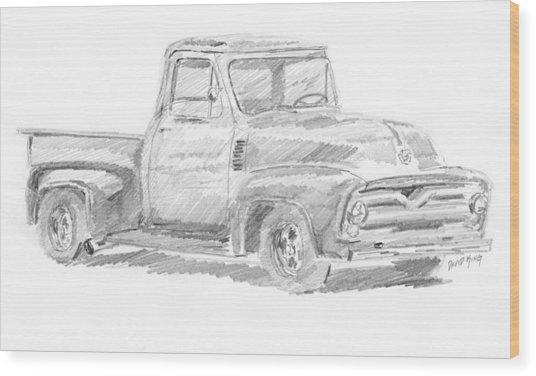 1955 Ford Pickup Sketch Wood Print