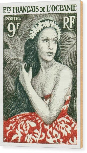 1955 French Polynesia Girl Of Bora Bora Postage Stamp  Wood Print