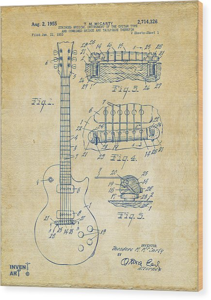 Wood Print featuring the drawing 1955 Mccarty Gibson Les Paul Guitar Patent Artwork Vintage by Nikki Marie Smith