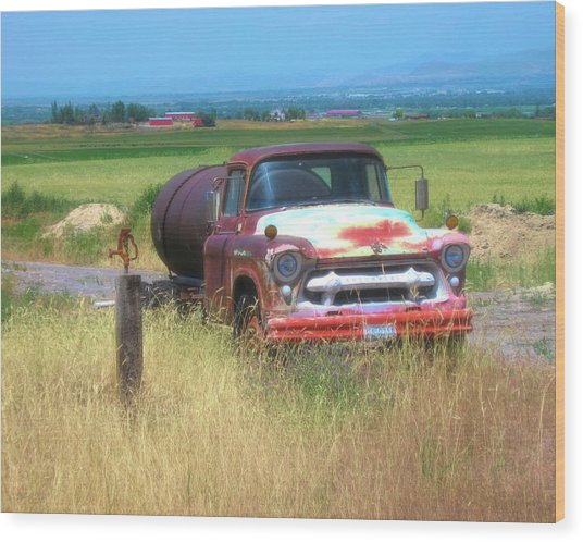 1956 Heavy Chevy Truck In Cache Valley Wood Print