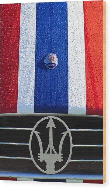 Wood Print featuring the photograph 1956 Maserati 350 S Hood Ornament Emblem 3 by Jill Reger