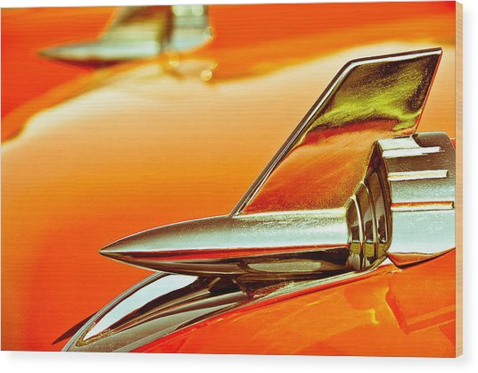 1957 Chev Bel Air Hood Fins Wood Print