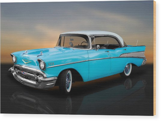 1957 Chevrolet Bel Air 4 Door Hardtop Wood Print
