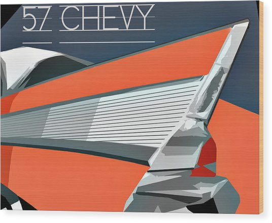 1957 Chevy Art Design By John Foster Dyess Wood Print