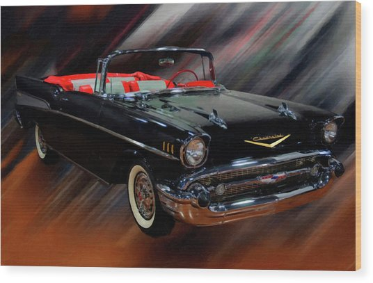 1957 Chevy Bel Air Convertible Digital Oil Wood Print
