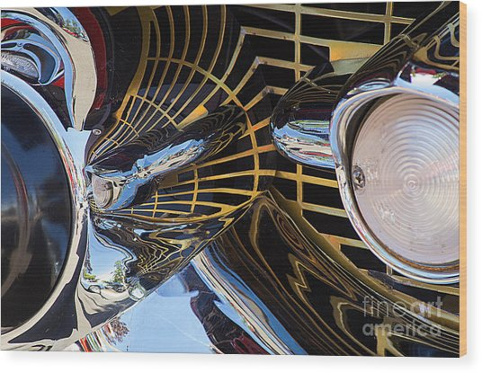 1957 Chevy Bel Air Grill Abstract 1 Wood Print