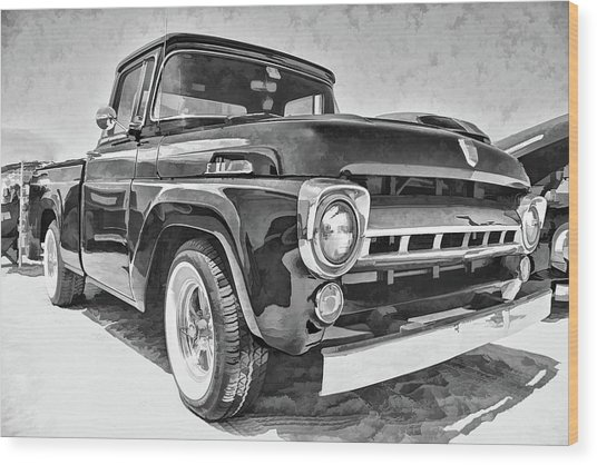 1957 Ford F100 In Black And White Wood Print