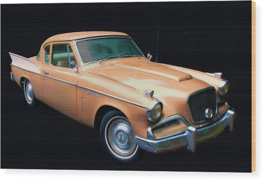 1957 Studebaker Golden Hawk Digital Oil Wood Print